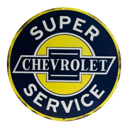 CHEVROLET ROUND EMBOSSED TIN SIGN 12x12