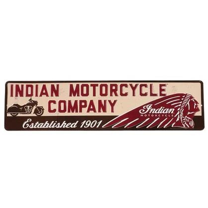 INDIAN MOTORCYCLE 1901 EMBOSSED TIN SIGN 20x5