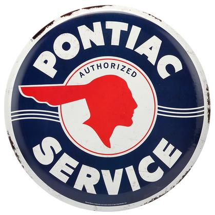PONTIAC SERVICE BUTTON EMBOSSED TIN SIGN 14