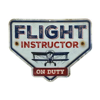 FLIGHT INSTRUCTOR HEX EMBOSSED TIN SIGN 13
