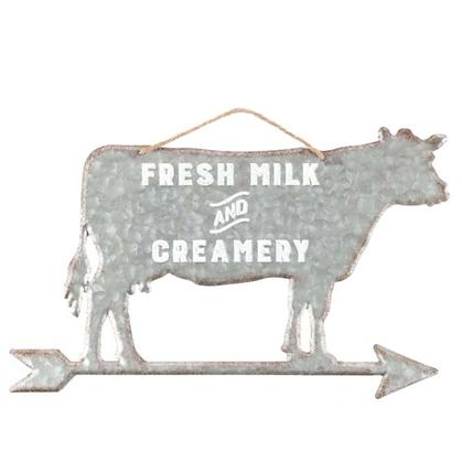 COW MILK CREAMERY EMBOSSED TIN SIGN 18