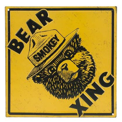 SMOKEY BEAR XING EMBOSSED TIN SIGN 9