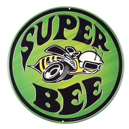 SUPER BEE GREEN EMBOSSED TIN SIGN 12