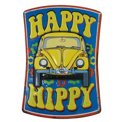 HAPPY HIPPY EMBOSSED TIN SIGN 9