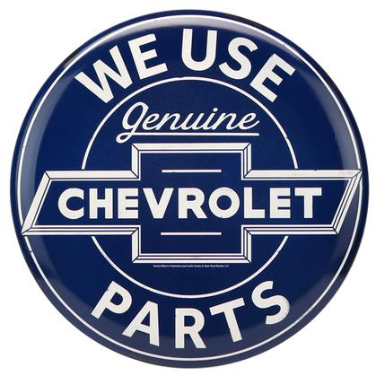 CHEVROLET PARTS BUTTON EMBOSSED TIN SIGN 14