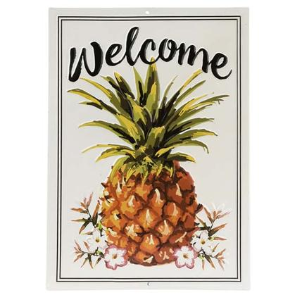 WELCOME PINEAPPLE EMBOSSED TIN SIGN 10