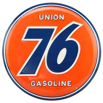 UNION 76 EMBOSSED TIN BUTTON SIGN 14
