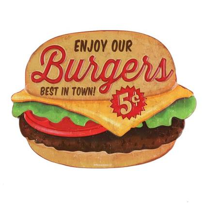 BURGERS EMBOSSED TIN SIGN 11