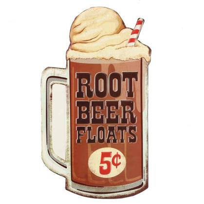 ROOT BEER FLOAT EMBOSSED TIN SIGN 7.5