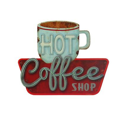 HOT COFFEE SHOP EMBOSSED TIN SIGN 14