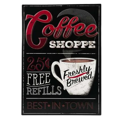 COFFEE SHOP EMBOSSED TIN SIGN 10x14