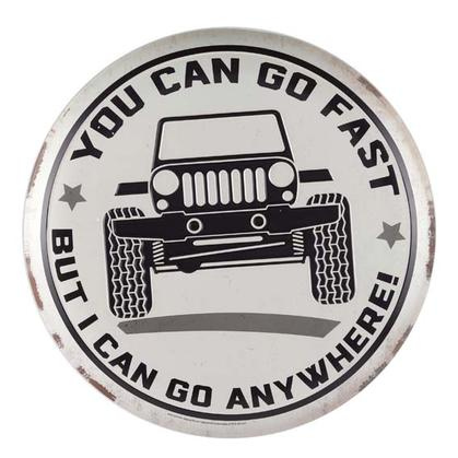 GO FAST GO ANYWHERE TIN BUTTON 13