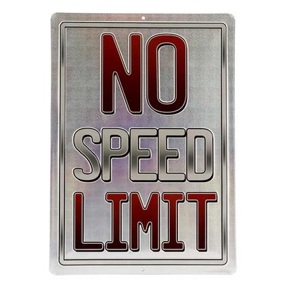 NO SPEED LIMIT RED EMBOSSED TIN SIGN 10