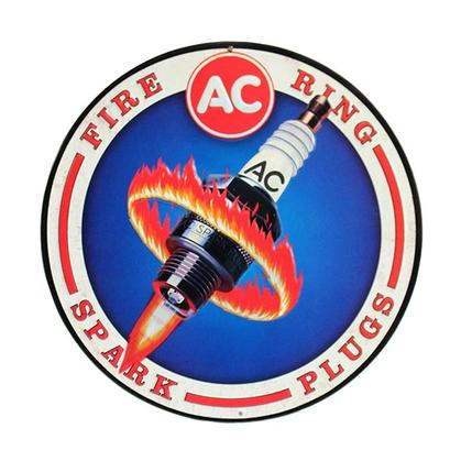 AC DELCO FIRE RINGS SPARK PLUGS ROUND TIN SIGN 12x12