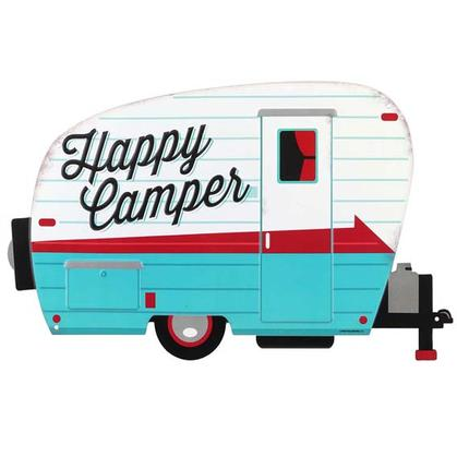 HAPPY CAMPERS EMBOSSED TIN SIGN 16
