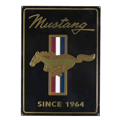 FORD MUSTANG BLACK & GOLD LOGO TIN SIGN 13
