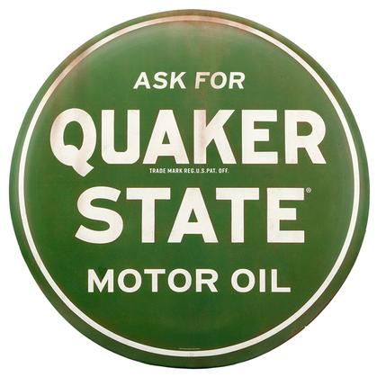 QUAKER STATE MOTOR OIL RUSTIC TIN BUTTON SIGN 24
