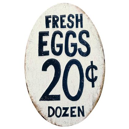 FRESH EGGS EMBOSSED TIN SIGN 7x10.5