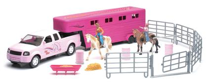 Valley Ranch Pickup and Horse Trailer Set in Pink
