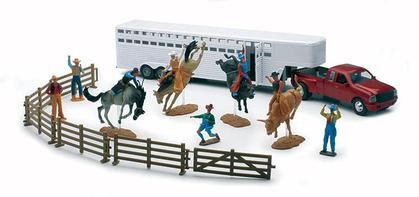 Rodeo Playset with Fifth Wheel Trailer and Red Truck