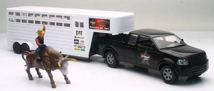 Ford F-150 Pickup with Trailer and Bull with Rider
