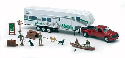 Ford Pickup Truck with Fifth Wheel Camper and Camping Accesories
