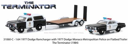 1977 Dodge Ramcharger & 1977 Dodge Monaco Metropolitan Police on Flatbed Trailer The Terminator
