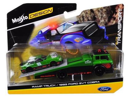 ELITE TRANSPORT 1:64 Ramp Truck & Ford Mustang Cobra 1993