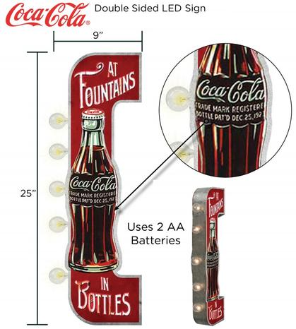 ILLUMINATED DOUBLE-SIDED SIGN (LED BULBS) - Coca-Cola - 9x25