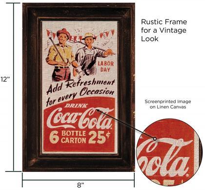 Coca-Cola Linen Canvas Rustic 12x8