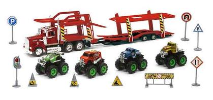 Auto Carrier with 4 Mini Monster Friction Trucks