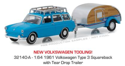 1961 Volkswagen Type 3 Squareback with Tear Drop Trailer