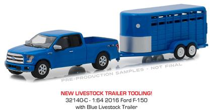 2016 Ford F-150 with Blue Livestock Trailer
