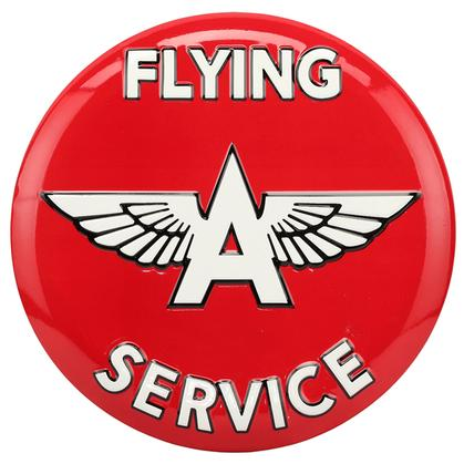 FLYING A SERVICE EMBOSSED TIN BUTTON SIGN 14