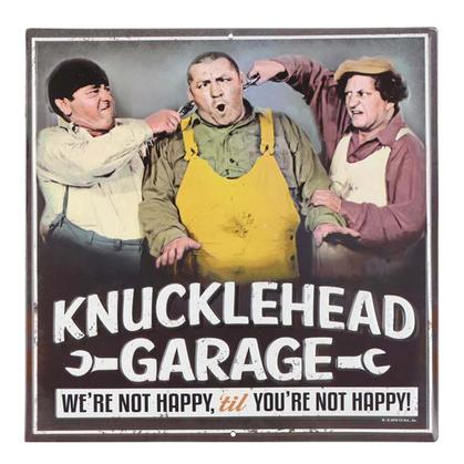 THREE STOOGES NOT HAPPY EMBOSSED TIN SIGN 12