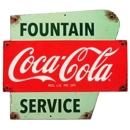 COCA-COLA SERVICE EMBOSSED TIN SIGN 13