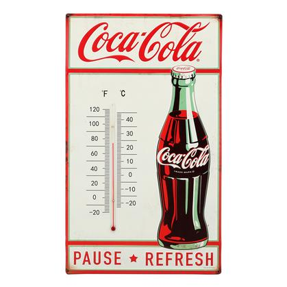 COCA-COLA PAUSE REFRESH EMBOSSED TIN THERMOMETER 12