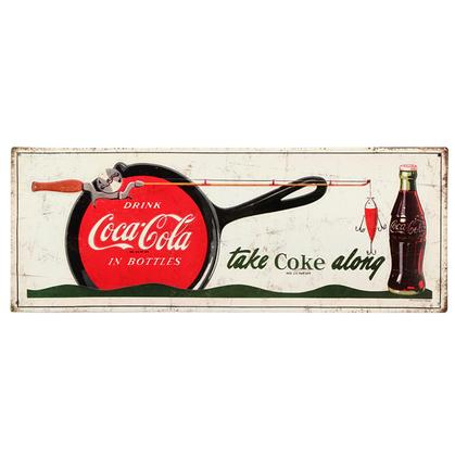 TAKE COKE ALONG EMBOSSED TIN SIGN 18
