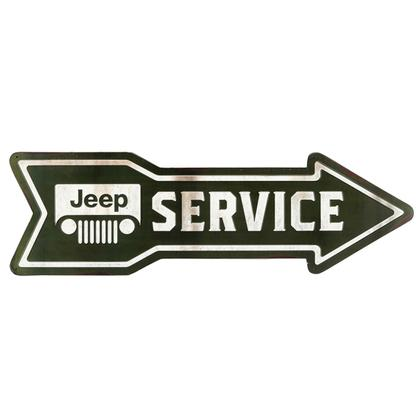 JEEP SERVICE ARROW EMBOSSED TIN SIGN 27