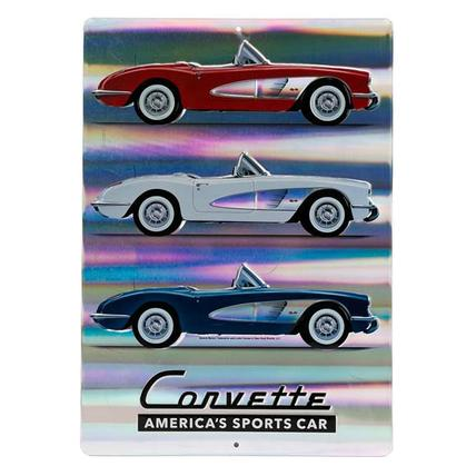 CORVETTE AMERICA'S SPORTS CAR PRISMATIC TIN SIGN 10