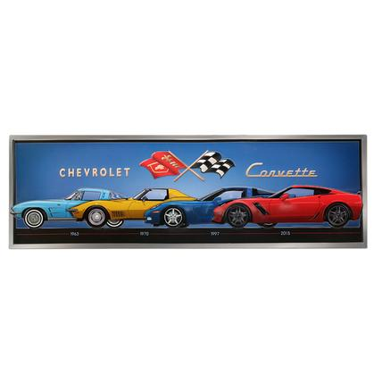 CORVETTE LINE UP EMBOSSED TIN SIGN 30