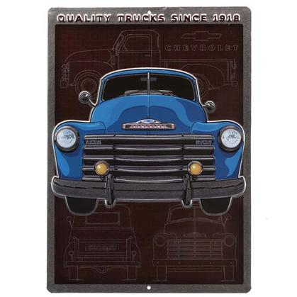 CHEVROLET TRUCK SCHEMATIC EMBOSSED TIN SIGN 10