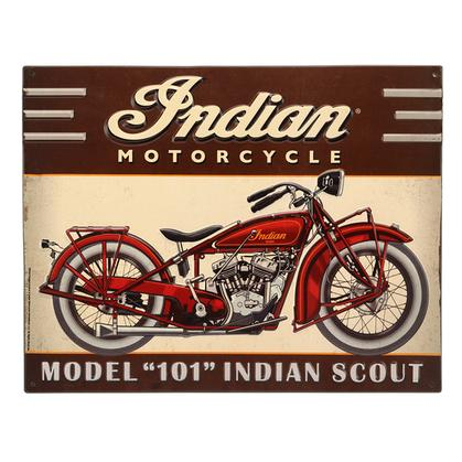 INDIAN SCOUT EMBOSSED TIN SIGN 16