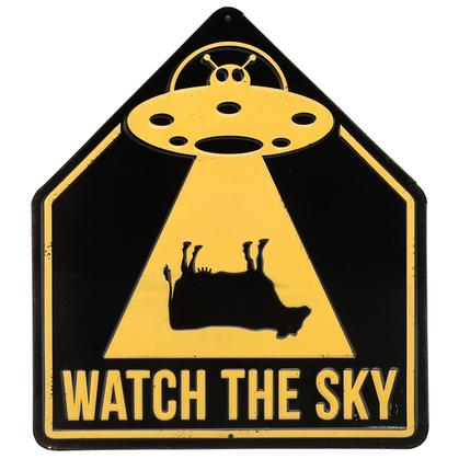 ALIENS WATCH THE SKY EMBOSSED TIN SIGN 11