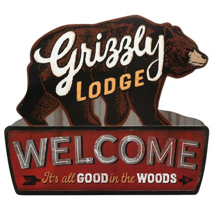 GRIZZLY LODGE RUSTIC EMBOSSED TIN SIGN 25