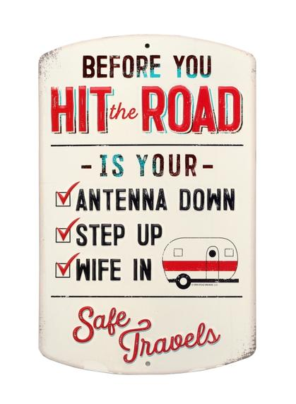 HIT THE ROAD CHECK LIST CAMPING RUSTIC EMBOSSED TIN SIGN 7