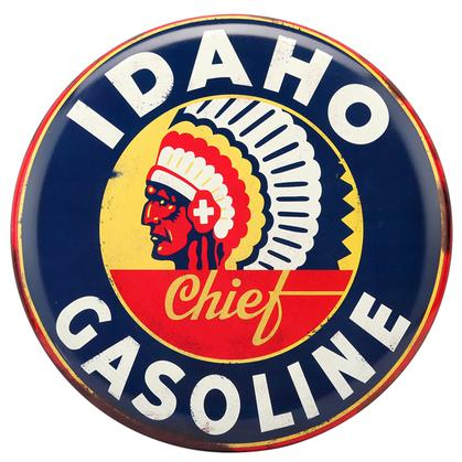 IDAHO GASOLINE RUSTIC EMBOSSED TIN SIGN 14