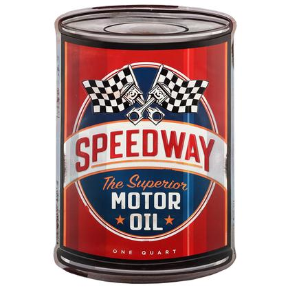SPEEDWAY EMBOSSED CURVED TIN SIGN 16