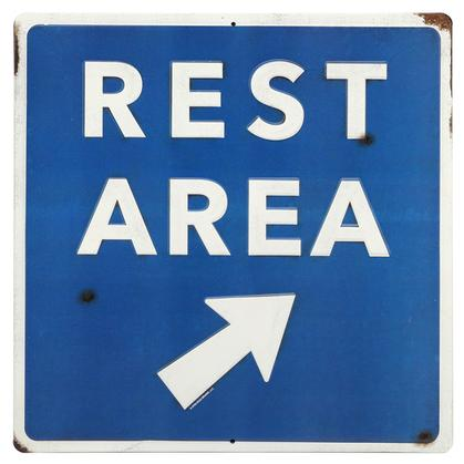 REST AREA RUSTIC EMBOSSED TIN SIGN 14