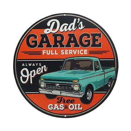 DAD'S GARAGE ROUND EMBOSSED TIN SIGN 12
